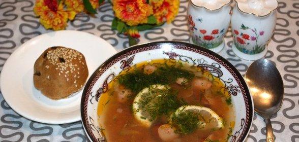 Солянка с колбасой приготовления пошагово