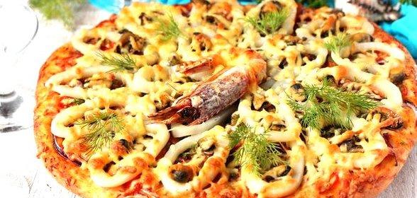 Приготовить пиццу из морепродуктов в домашних условиях