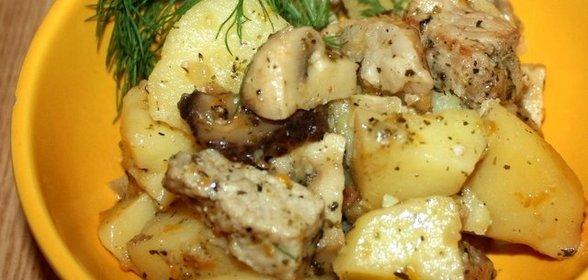 Свинина с грибами с картошкой в мультиварке рецепты с фото