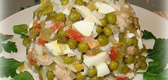 Салат с печенью трески и рисом рецепт пошаговый