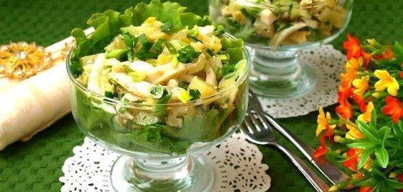 Салат с кальмаром в домашних условиях