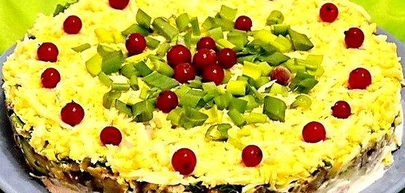 Салат праздничный рецепт с с курицей слоями