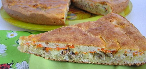 Рыбный пирог с сайрой пошаговый рецепт с
