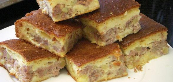 Рецепт мясного простого пирога с пошагово