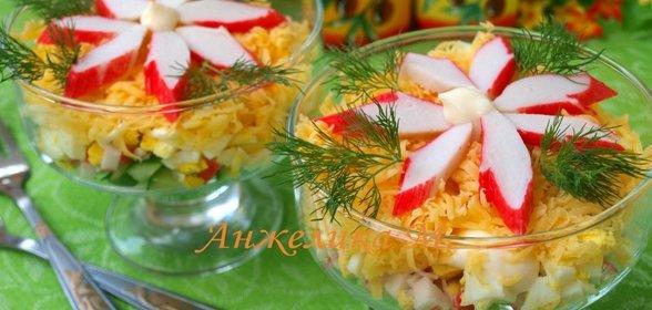 Рецепт салатов с крабовыми палочками с пошагово