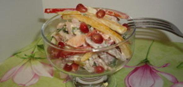 Салат с копченым окорочком фото пошаговый рецепт