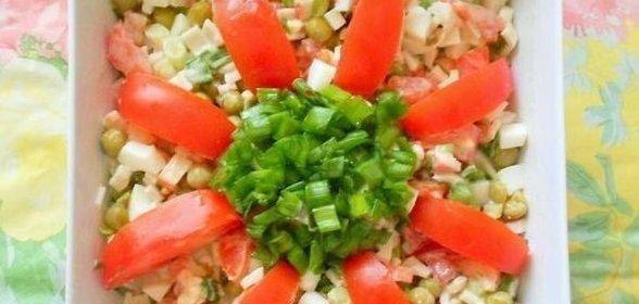 Салат с горошком зеленым рецепт с пошагово в