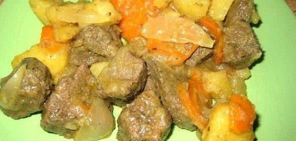Печень говяжьяы в духовке с картошкой