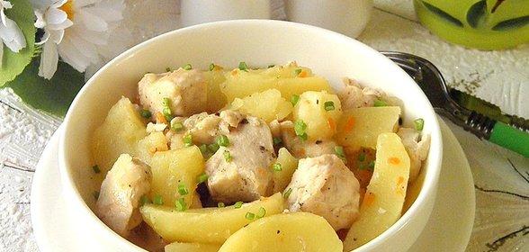 Куриная грудка с картошкой в мультиварке рецепт с фото