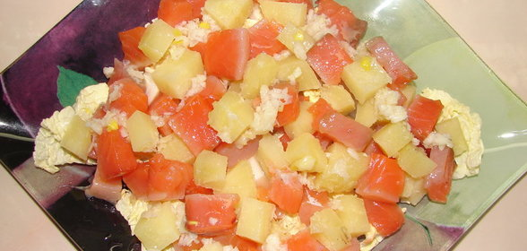Простой салат из семги рецепт с