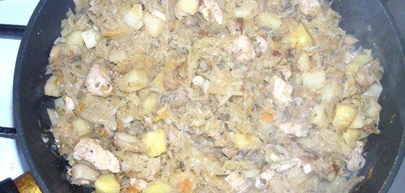 Пошаговый фото капуста тушеная с курицей
