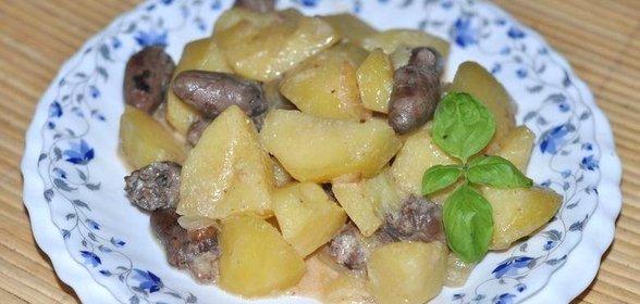 Тушеная картошка с куриными сердечками рецепт пошагово