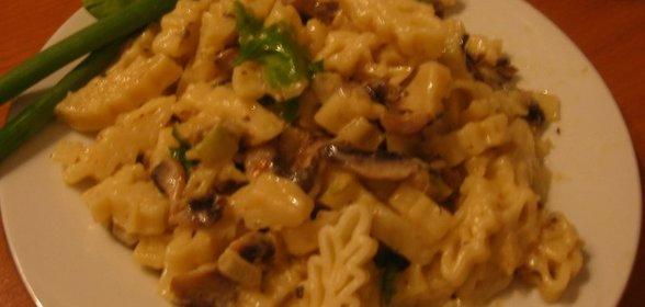 Макароны с грибами простой